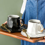 Monland European Luxury Ceramic Coffee Cups and Saucers Mugs Coffee Cups Cappuccino Water Tea Cup Cute Taza Cafe Drinkware