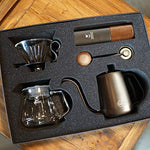 TIMEMORE G1 Pour Over Coffee Maker sets hand brew coffee suits 7 pcs in gift box best G1 coffee grinder/kettle 600ml/filter dripper/filter paper/brush/thermometer/glass server 360ml
