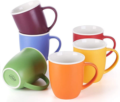 LIFVER 18oz Coffee Mugs Set of 6, Multi Colors