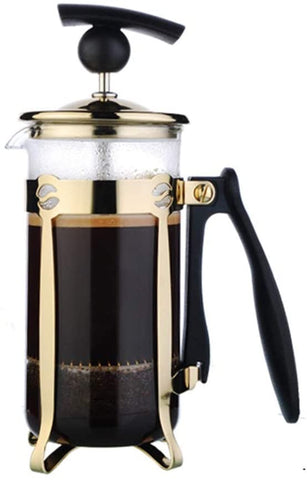 YF-CHEN Coffee Kettle Coffee French Press Coffee Press Coffee Pot Household Filter Stainless Steel Hand-made Coffee Pot Glass Tea Maker French Press Pot (Color : Gold, Size : 350ml)