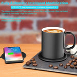 iwoxs Coffee Mug Warmer Coffee Warmer For Desk,Intelligent Temperature Control 131°F/55°C Coffee Cup Warmer Set(wireless Charging Function Two In One) (black)