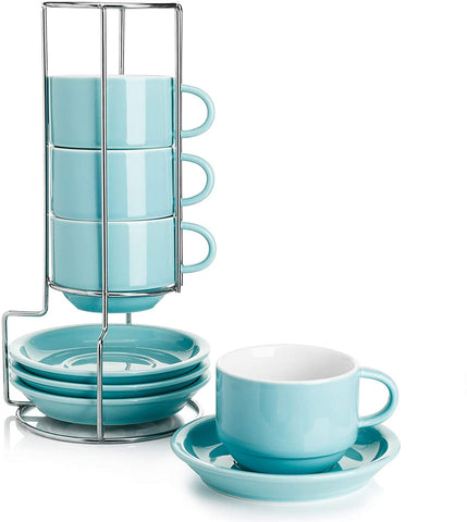 Porcelain Cappuccino Cups with Saucers and Metal Stand