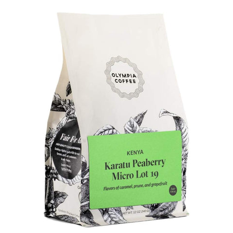"Olympia Coffee ""Kenya Karatu Peaberry Micro Lot 19"" Light Roasted Fair Trade Whole Bean Coffee - 12 Ounce Bag"