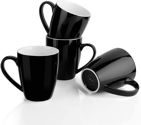 Sweese 601.414 Porcelain Mugs - 16 Ounce (Top to the Rim) for Coffee, Tea, Cocoa, Set of 4, Black