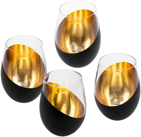 My Gift Matte Black & Gold Stemless Wine Glasses