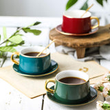 Krycslove European Style Coffee Cups Teacups with Saucer and Spoon Set Creative Luxury Gold Trim Ceramic Cup (Dark Green)