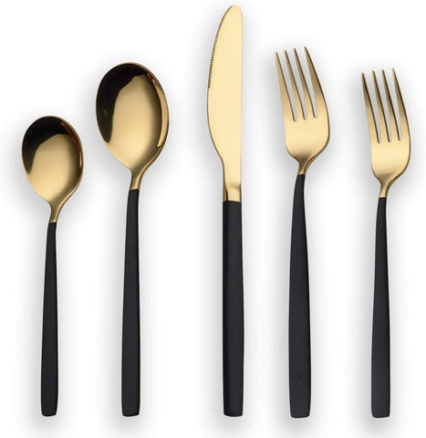 Berglander Titanium Black And Golden Flatware Set