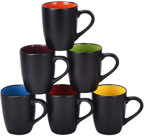 Set of 6 Coffee Mug, Black outside and Colorful inside