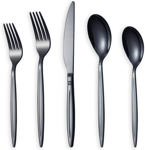 HOMQUEN Amazon Brand 20 Piece Black Silverware Set