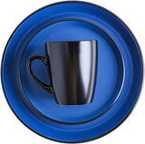 Stone Lain Stoneware Dinnerware Set, For 8, Blue and Black