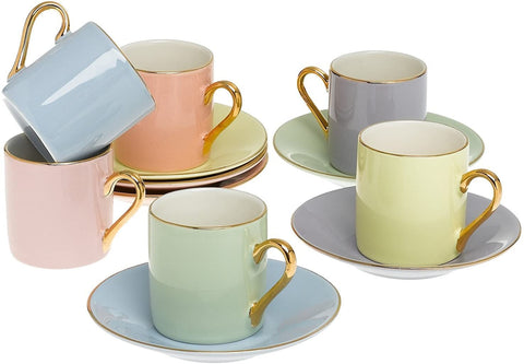 Classic Espresso Coffee Cups & Saucers