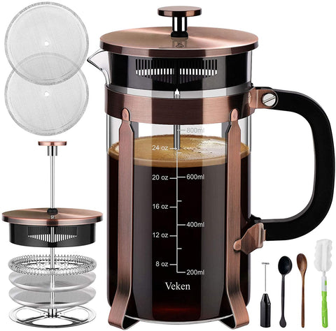 Veken French Press Coffee Maker, Copper