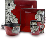 Elama Stoneware Square Floral Dinnerware Dish set, 16 Piece, Red with White Flower Accents