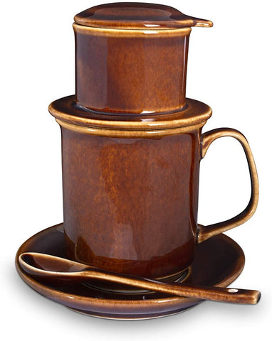Vietnamese Coffee Filter Maker Set | Pour Over Coffee Dripper | French Press Style Coffee Filter | Handmade Ceramic | Including Cup and Spoon (Caramel)
