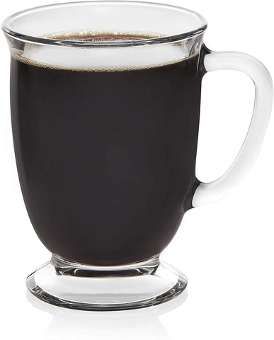 Libbey Kona Glass Coffee Mugs, Set of 6