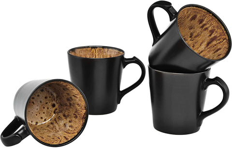 Culver VOG Ceramic Mug, 14-Ounce, Black Brown, Set of 4
