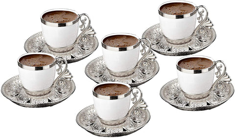 Fancy Turkish Coffee Cup Saucers Set of 6