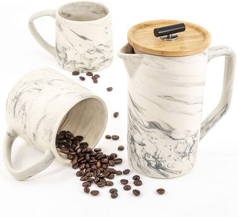 Ceramic Marble 28oz French Press Coffee Maker
