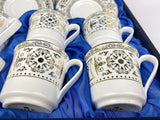 Turkish Porcelain Greek Arabic Coffee Espresso Cups & Saucers Set of 6, Luxury Coffee Set (4 oz.),12 Pc, Demitasse Gift Set, Turkey (White&Gold)