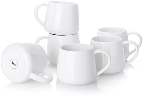 Sweese Coffee Mugs - 12 Ounce for Coffee, Set of 6, White