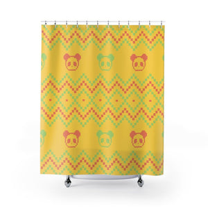 8-bit Panda Shower Curtain-Panda Wonders