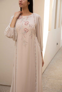 Fatima with Love - Beige Chiffon Kaftan