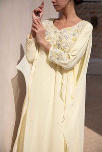 Fatima with Love - Light Yellow Chiffon Kaftan