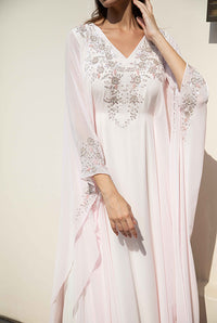 Fatima with Love - Baby Pink with Silver Embroidery Chiffon Kaftan