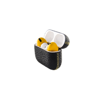 Merlin Craft Royal Collection Apple Airpods Pro Calf Black With Yellow