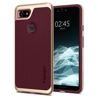Spigen Google Pixel 3 Neo Hybrid cover / case - Burgundy with Gold Frame