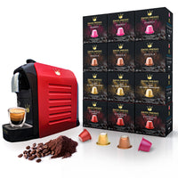 Swiss Presso Nespresso Compatible Espresso Coffee Machine Red With 120 Coffee Capules