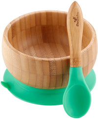 Avanchy Baby Bamboo Stay Put Suction BOWL + Spoon GN