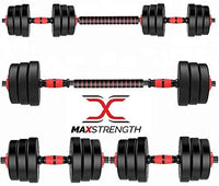Max Strength-40kg dumbbell and Barbell Set Weightlifting fitness black cement steel rubber adjustable dumbbell and Barbell Set 2 in 1