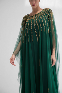 Fatima with Love - Forest Green with Golden Embroidery Kaftan