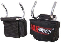 MAXSTRENGTH Power Weight Lifting Training Gym Bar Hook Grips Straps Gloves Wrist Support Black