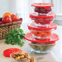 5Pcs Glass Bowls Set Heat Resistant Fresh-keeping Bowl With Lid Sealed Salad Bowl