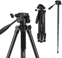 KKmoon KINGJOY VT-880 2 In 1 Portable Adjustable Aluminium Alloy Camera Tripod Monopod 360° Panoramic Shooting for Canon Nikon Sony Fuji Video Camcorder Action Camera GoPro hero