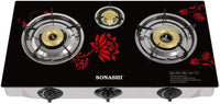 Sonashi Three Gas Burner Full Safety Glass (Floral)