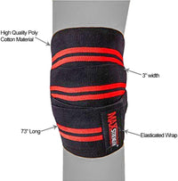 MAXSTRENGTH ® Knee Wraps Weight Lifting Heavy Duty Elasticated Knee Support Straps Velcro Closure Home Gym Training Workout