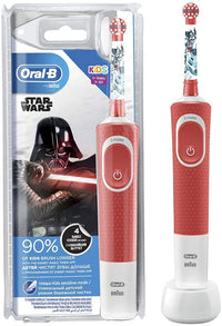 Oral B D100.413.2K STAR WARS, Vitality D100 Rechargeable Toothbrush Star Wars for Kids 3+ Years, White/Red