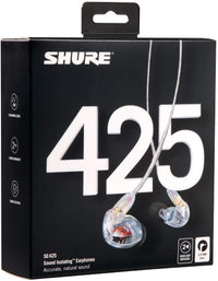 Shure SE425 Sound-Isolating In-Ear Stereo Headphones (Clear)