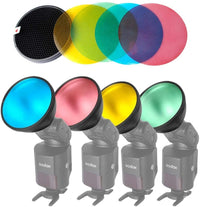 Godox AD-S11 Color Filter Gel Pack with AD-S12 Honeycomb Grid Cover Reflector for Witstro Flash AD200 AD360II AD180 AD360