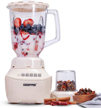 Geepas GSB5409 250W 2 in 1 Multifunctional Blender | Stainless Steel Blades, 4 Speed Control with Pulse | 1.5L Jar, Over Heat Protection| Ice Crusher, Chopper, Coffee Grinder & Smoothie Maker