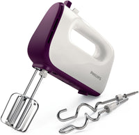 Philips HR3740/11 Viva Collection Hand Mixer -White/Deep Purple, 400W, Stainless Steel Hooks, 5 speeds + turbo, Double Balloon Beater + Kneading tool