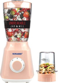 Sonashi 2 In 1 Countertop Blender 300-350W With Unbreakable Jar & Mill SB-153N Peach