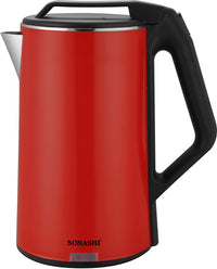 Sonashi 1.8l Seamless Stainless Steel Cordless Kettle (Red-Black)