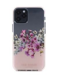 Ted Baker iPhone 12  / 12 Pro Anti-Shock Floral Case - Elegant Drop Protection Cover, TPU Bumper, Wireless Charging Compatible, Women/Girls Phone Case - Jasmine Clear