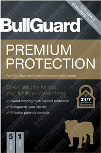 BullGuard Antivirus Premium Protection 2021 Edition |1 license supports 5 Multi Devices |1 Year| PC/Mac/Android smartphones & tablets