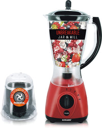 Sonashi 2 In 1 Unbreakable Jar And Mill Countertop Blender - SB-154 (Red)