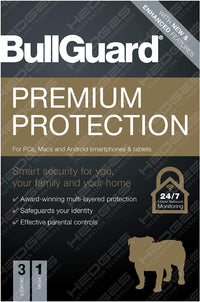 BullGuard Antivirus Premium Protection 2021 Edition - 1 license supports 3 Multi Devices - 1 Year|PC/Mac/Android smartphones and tablets